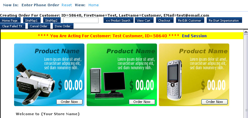 iVend eCommerce phone order browse